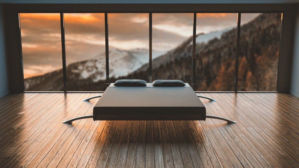 bed mountains holiday house home view